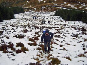 In the snow on the way up to Castle Fell